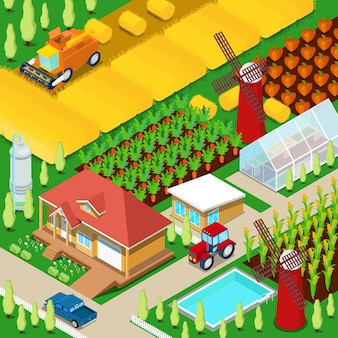 Isometrisches ländliches landwirtschaftliches feld mit gewächshaus und windmühle. illustration
