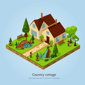 Isometrisches land-häuschen-landschaftsgestaltungskonzept