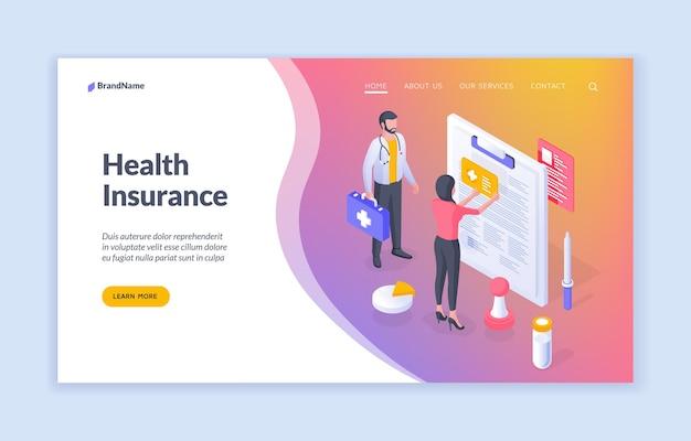 Isometrisches landingpage-design der krankenversicherung