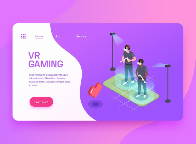 Isometrisches landingpage-design für virtuelle augmented-mixed-reality-gaming-unterhaltung mit zwei spielern in headsets
