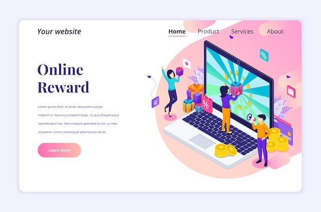 Isometrisches landingpage-designkonzept der online-belohnung. eine gruppe glücklicher menschen erhält eine geschenkbox vom online-treueprogramm