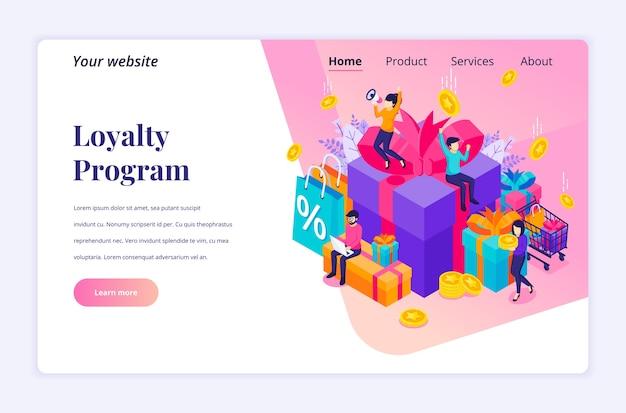 Isometrisches landingpage-designkonzept des loyalty-marketing-programms. gruppe glücklicher menschen in der nähe von großen geschenkboxen, rabatt- und kundenkarten, prämienkartenpunkten und boni