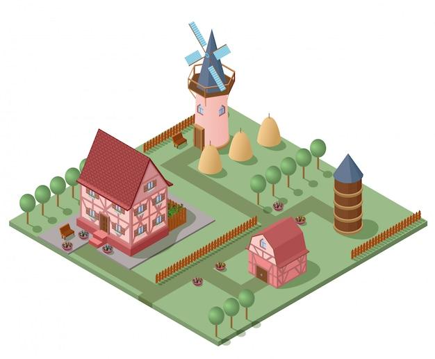 Isometrisches landwirtschaftskonzept