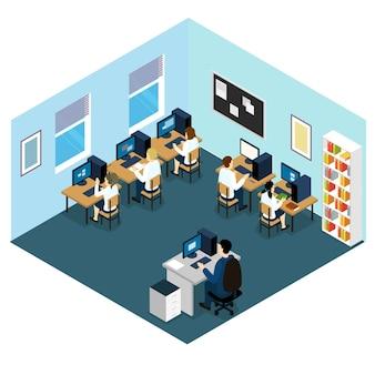 Isometrisches layout der computerklasse