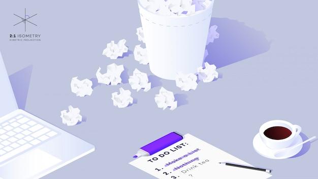 Isometrisches leeres blatt papier 3d mit mit gefüllt, um liste zu tun