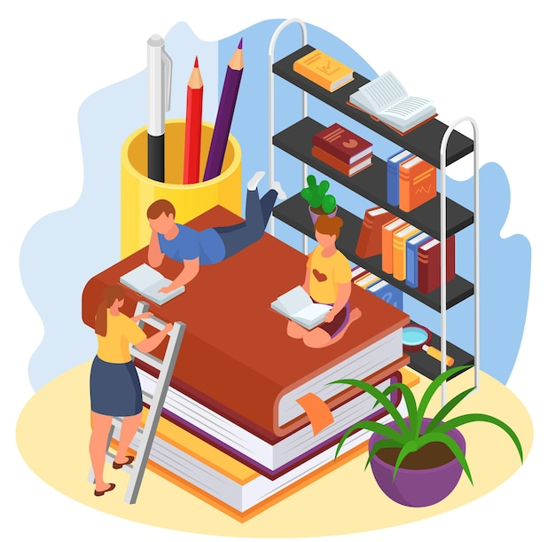 Isometrisches lesebuch, vektorillustration. bildung in der bibliothek, flacher kleiner mädchenjungencharakter, der in der literatur sitzt, schulwissen erwerben. frauenmutter in der nähe von lesekinderkonzept.