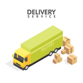 Isometrisches lieferwagen und satz pappschachteln. isometrische darstellung. lieferservice