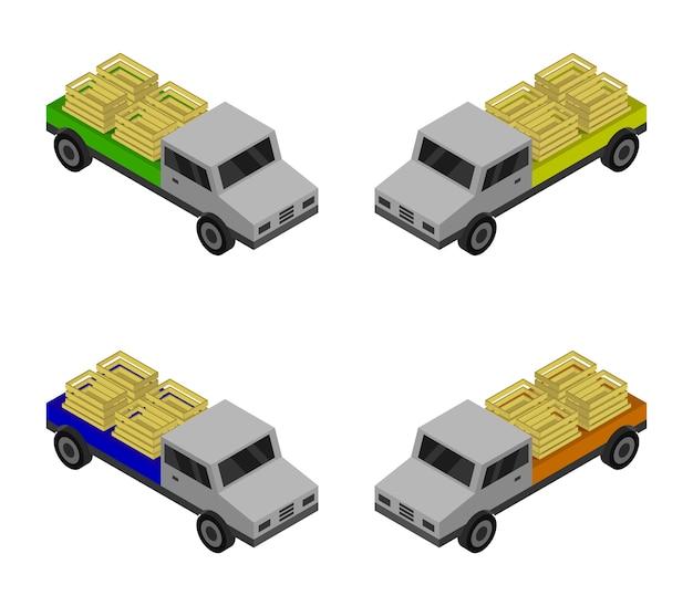 Isometrisches lkw-set mit holzkiste