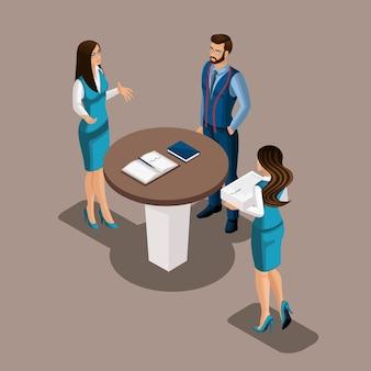 Isometrisches mädchen in der bank erklärt dem kunden die vorteile der eröffnung eines bankkontos, der schneider wartet auf den vertrag. eigenes geschäft, arbeiten sie für sich