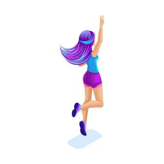 Isometrisches mädchen springen, spaß haben, glücklich mit buntem haar, konzept des magischen hellen haares, rückansicht, hellrosa und blaues haar