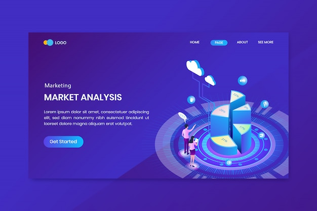 Isometrisches marketing kreisdiagramm infografik landing page