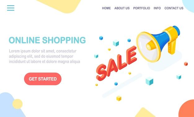Isometrisches megaphon, lautsprecher mit text. rabattverkauf. online einkaufen . kaufen sie im einzelhandel über das internet. digitales marketing. geschäftsentwicklungswerbung für web-banner