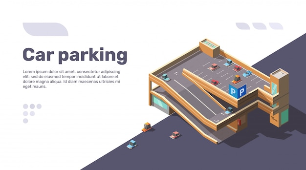 Isometrisches mehrstöckiges autoparken mit aufzug