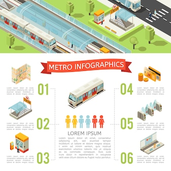 Isometrisches metro-infografik-konzept