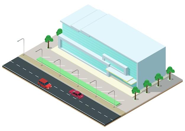 Isometrisches modernes geschäftszentrum mit autobahn. gewerbliches bürogebäude isoliert
