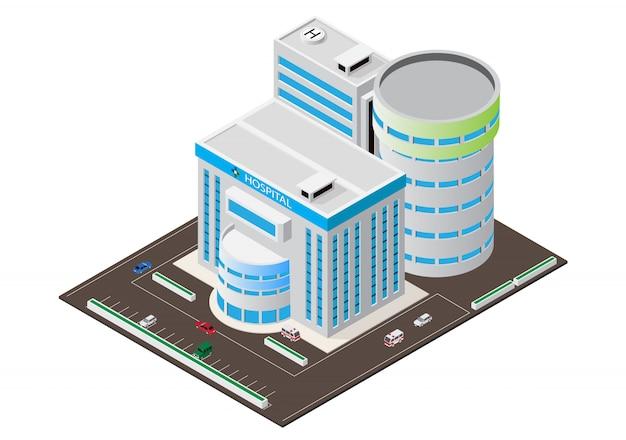 Isometrisches modernes krankenhausgebäude des vektors