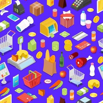 Isometrisches nahtloses muster des supermarkteinkaufs