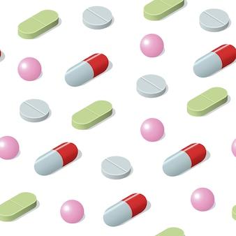 Isometrisches nahtloses muster mit verschiedenen medizinischen pillen, tabletten, kapseln. medizinischer hintergrund.