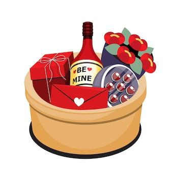 Isometrisches objekt der illustration des geschenkkorbs für glückliche valentinstagskarte oder fahnendekoration lokalisiert auf weißem hintergrund