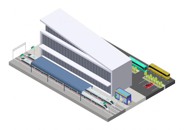 Isometrisches öffentliches bahnhofsgebäude