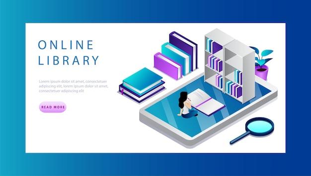 Isometrisches online-bibliothekskonzept