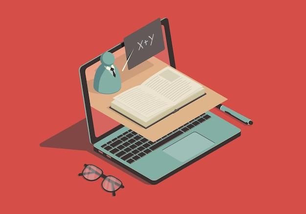 Isometrisches online-bildungskonzept mit laptop und abstraktem lehrer