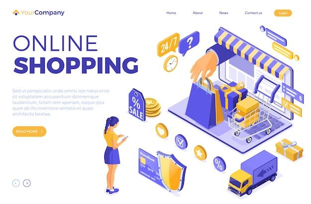 Isometrisches online-einkaufs- und lieferkonzept mit laptop und handheld-tasche