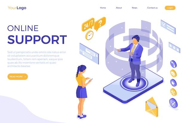 Isometrisches online-kundensupportkonzept.