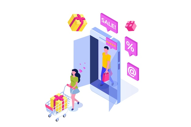 Isometrisches online-shopping-konzept mit zeichen
