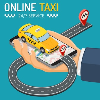Isometrisches online-taxi-service-konzept