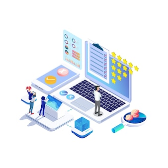 Isometrisches online-umfragekonzept mit bewertungssternblase für anwendungsproduktdienste