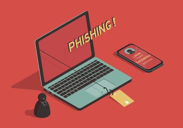 Isometrisches phishing-konzept mit laptop und karte am angelhaken
