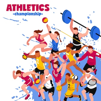 Isometrisches plakat des bunten sports