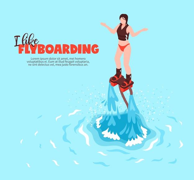 Isometrisches plakat des extremen sommerwassersports mit der jungen frau im badeanzug auf flyboard