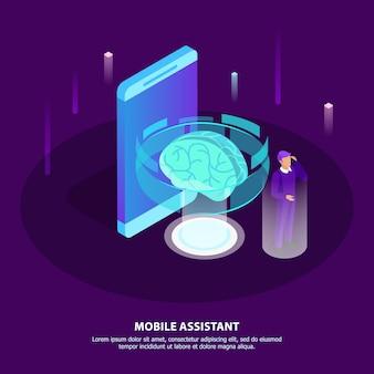 Isometrisches plakat des mobilen assistenten mit glühengehirn als künstlicher intelligenz und mann des symbols, die notwendige informationen mit beweglicher app in seinem smartphone erhält