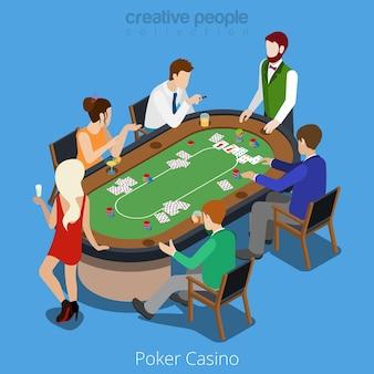 Isometrisches pokerraumkonzept. spieler-shuffler-kartenspiel