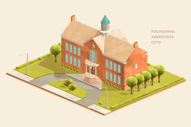 Isometrisches polygonales gebäude der grundschule