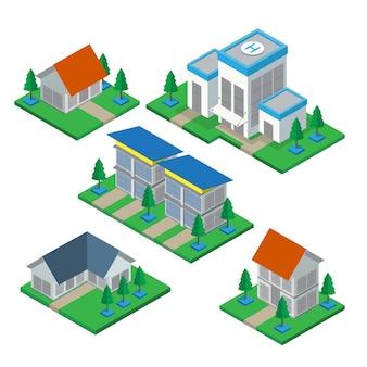 Isometrisches privates haus 3d und handelsgebäudeikonen eingestellt.