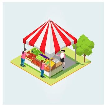 Isometrisches produkt lokaler markt. landwirte, die gesunde natürliche landwirtschaftliche produkte in behältern im freien verkaufen