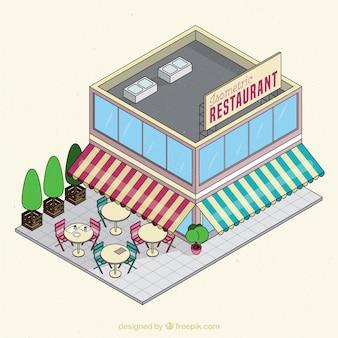 Isometrisches restaurant mit markise und terrasse