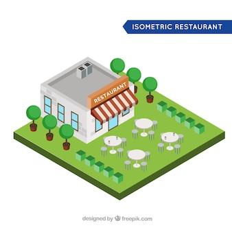 Isometrisches restaurant mit terrasse und bäumen