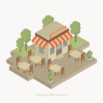 Isometrisches restaurant mit terrasse