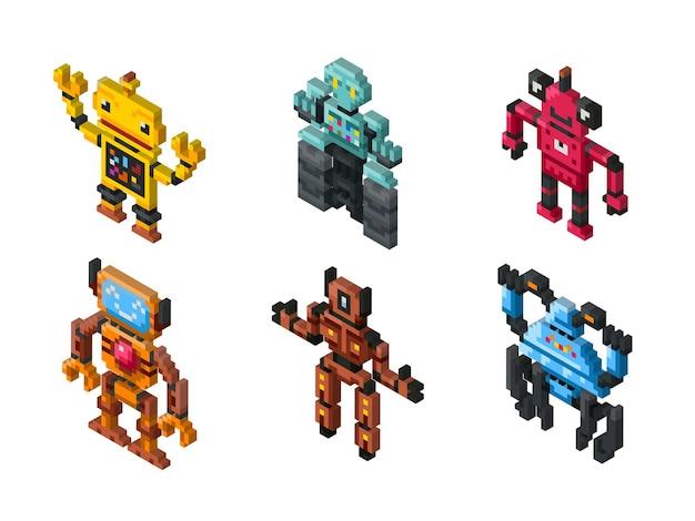 Isometrisches roboterspielzeug auf weißem hintergrund. satz roboter und illustrationsfreundlicher pixeliger roboter