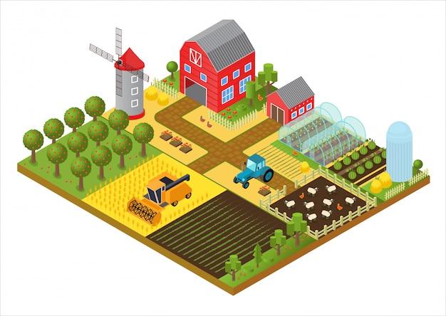Isometrisches schablonenkonzept des ländlichen bauernhofs 3d mit mühle, gartenpark, bäumen, landwirtschaftlichen fahrzeugen, bauernhaus und gewächshausspiel oder app-illustration.