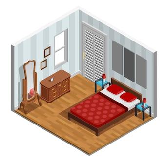 Isometrisches schlafzimmer-design