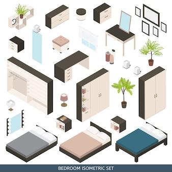 Isometrisches schlafzimmer, szenenerstellungsset