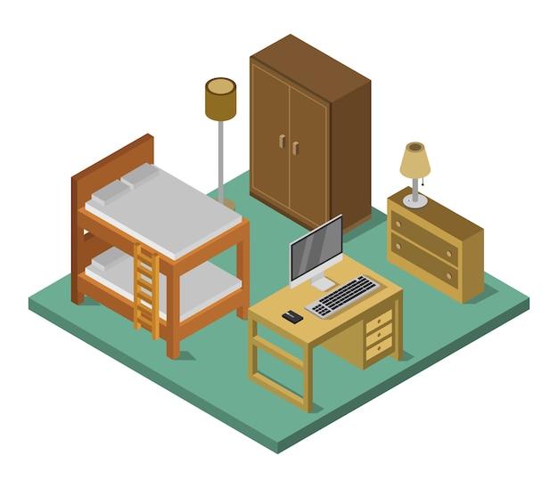 Isometrisches schlafzimmer