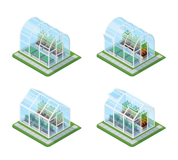 Isometrisches set aus glasgewächshaus