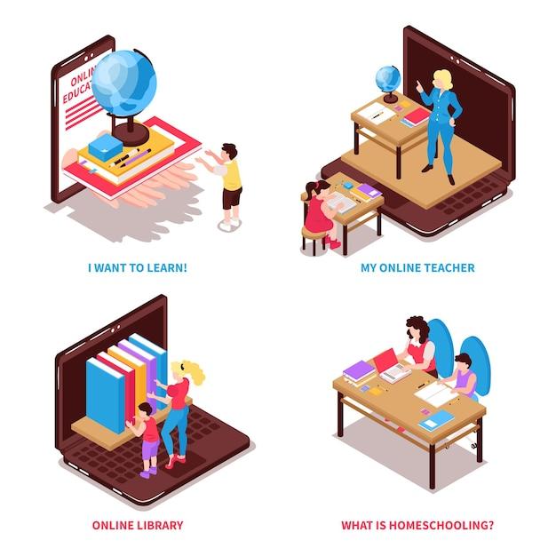 Isometrisches set der heimschule mit isolierter illustration der familien- und bildungssymbole