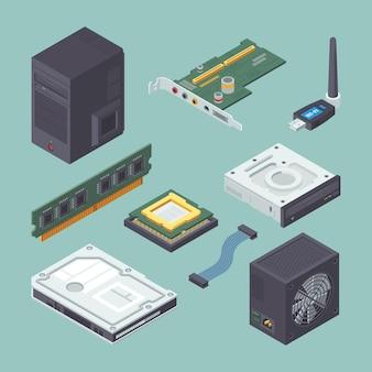 Isometrisches set für computer mit persönlicher ausrüstung.